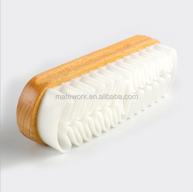 suede brush with rubber header and beech handle