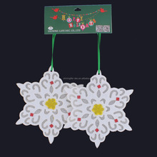 new design snowflake with shiny glass beads decorating christmas snowflake ornament