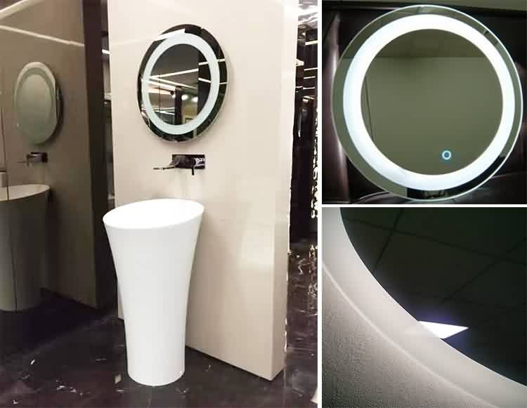 Norhs frameless round wall bathroom led illuminated mirror with lights designs for vanity