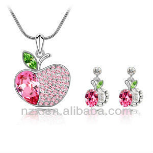 OUXI crystal necklace and earrings set with Austrian crystal S-2054