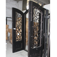 Wrought iron exterior security double steel door