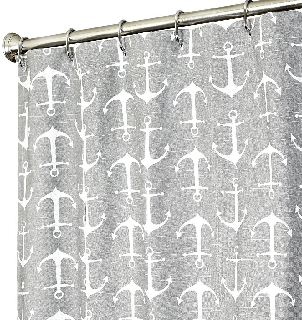 Extra Long Shower Curtain Nautical Curtains Anchor Fabric Gray 84 Inch