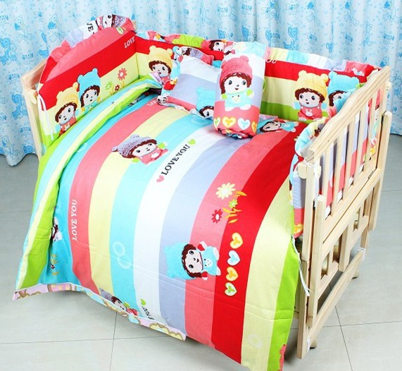 Promotion 7pcs Baby bedding kit bed around quilt mattress pillow baby 100 cotton bedding set bumper