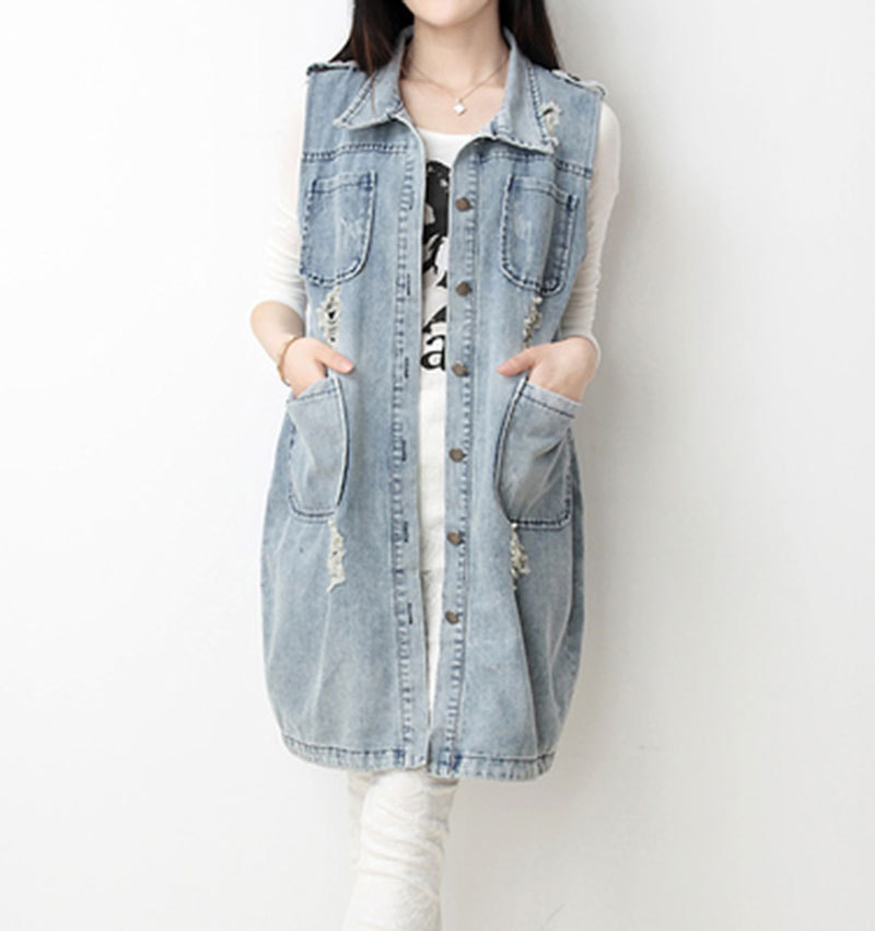 47bcd7ddc164d 2015 Large Size Women Models Fall In The Long Section Sleeveless Denim  Jacket Female Sleeveless .