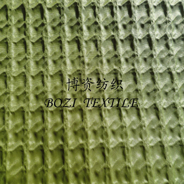 crinkled plaid grain green nylon fabric