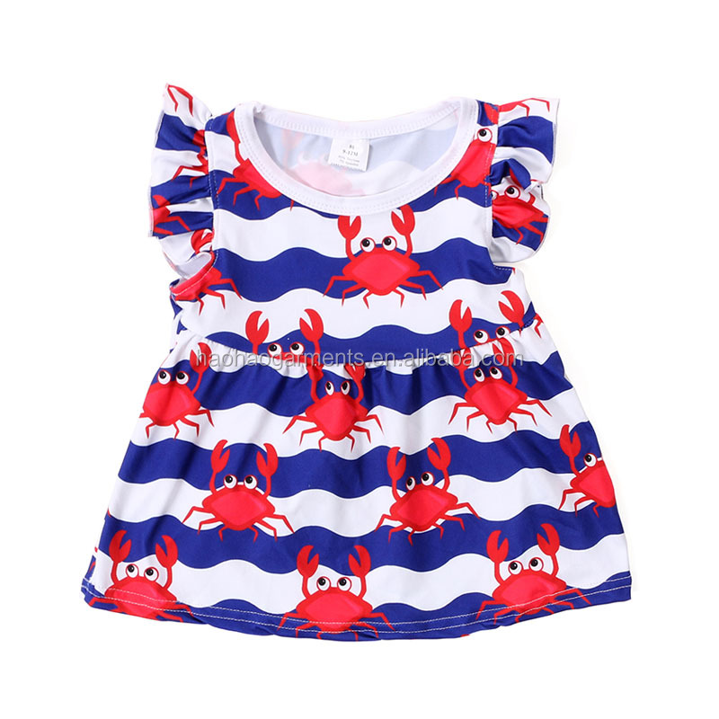 Red crabs blue ocean printed summer milk silk tops kid boutique t shirts baby 3d printing t-shirt