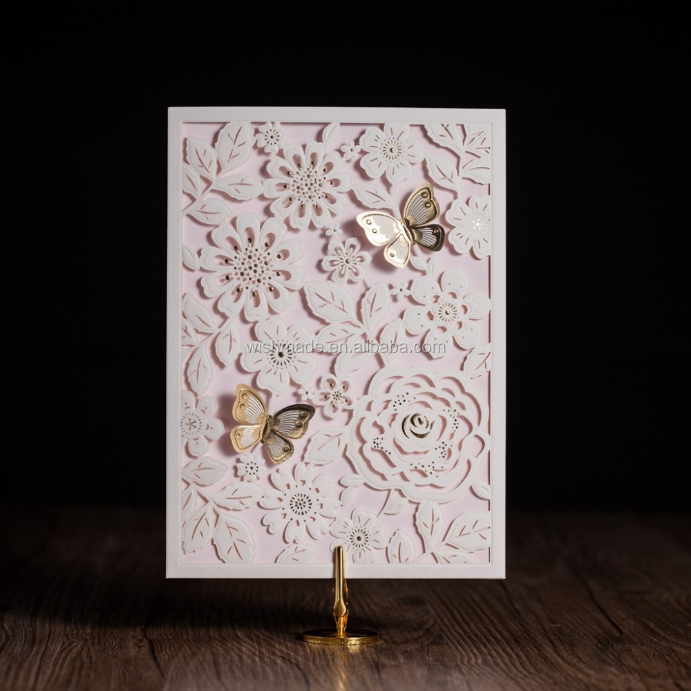 wrap design laser cut wedding  birthday invitation card with d, invitation samples