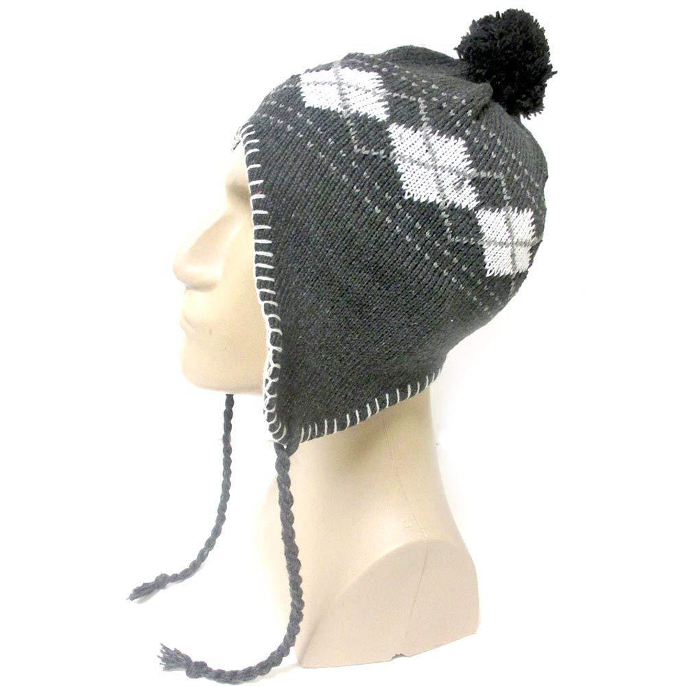 6a0e52d6d9692d Get Quotations · 1 Winter Peruvian Hat Ear Flap Earmuff Ski Skully Beanie  Cap Snow Unisex Grey