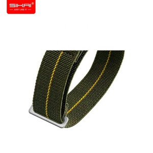 SIKAI New design popular adjustable army green black colors military nylon watch band 20mm 21mm 22mm nato elastic watch strap