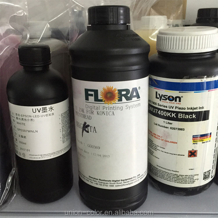 Original FLORA uv flatbed printer uv curing ink for konica printhead