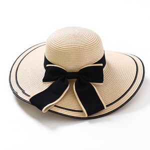 Wholesale manufacturer women summer beach fashionable foldable visor big bowknot wide brim straw hats