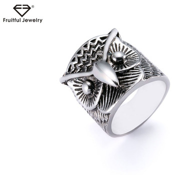 bda945bf17ef Llegada nueva Retro talladas buho de aleación de cara ancha anillo de los hombres  anillo de