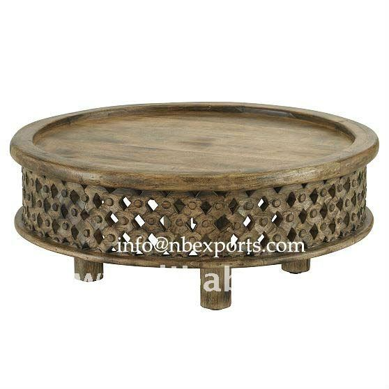 Carved Wooden Jali Coffee Table