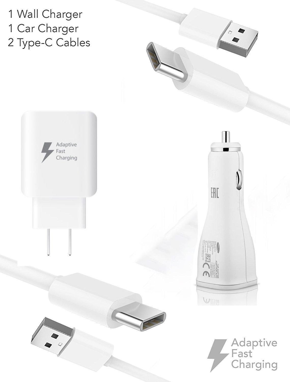 Quick Adaptive Alcatel PLUS 12 Turbo 18W Wall & Car Dual-Port USB Kit with (2) USB Type-C Cables!