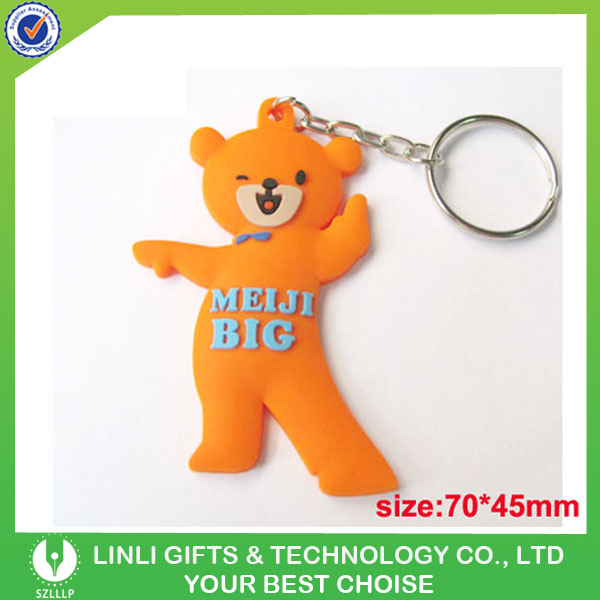 custom mini reflective LED light PVC key ring with logo