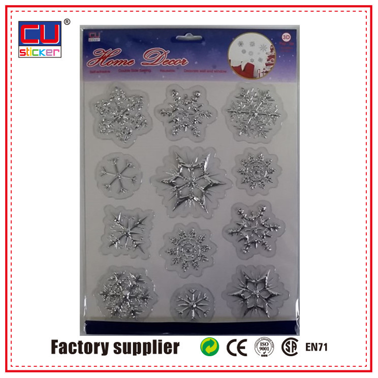 Popular snowflake christmas holiday removable vinyl sticker for home wall decorative