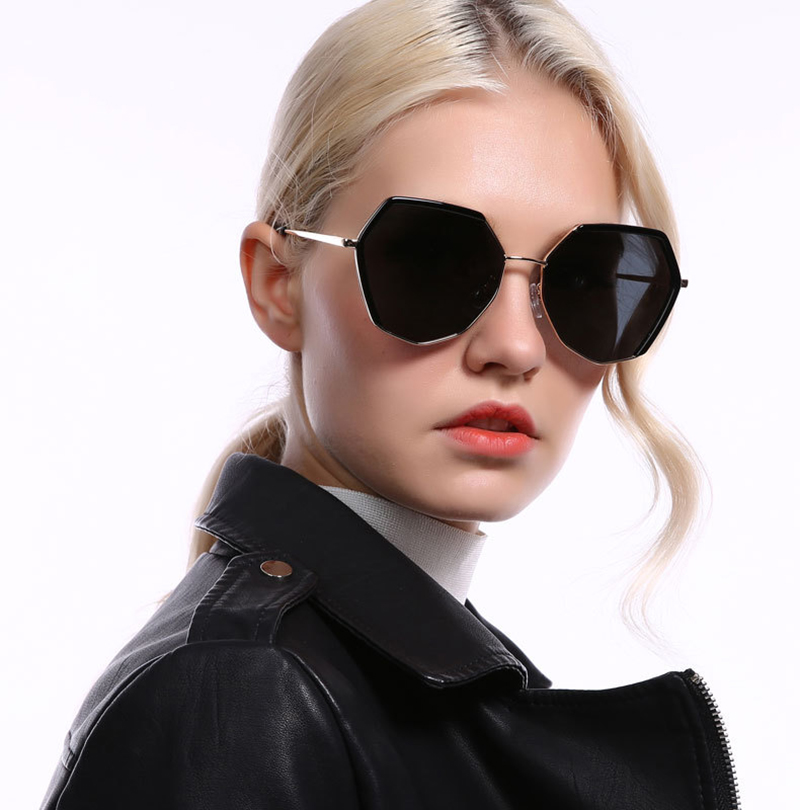 New trendy  polygon fancy brand ladies eyewear luxury oversized polarized sunglasses