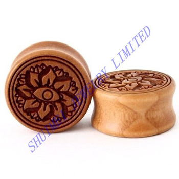 Hand carved wood lotus flower double flared ear expander plug hand carved wood lotus flower double flared ear expander plug puncture piercing body jewelry fashion new mightylinksfo
