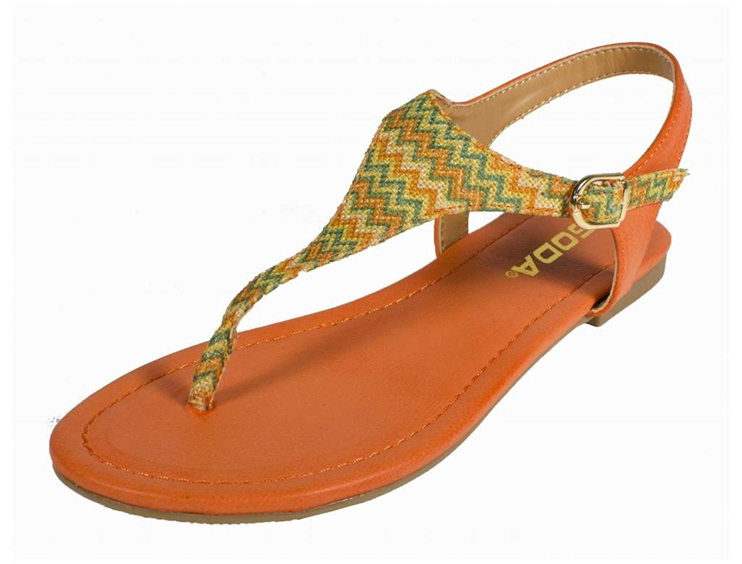 Mochi! Soda Women's Woven Zig Zag Colorful Pattern T-strap Thong Flat Sandals in Orange Leatherette with Multi Colored T-Strap