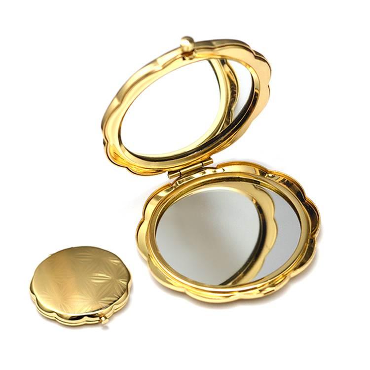 China factory direct wholesale cheap hand mirror mini round gold compact pocket handbag cosmetic mirror