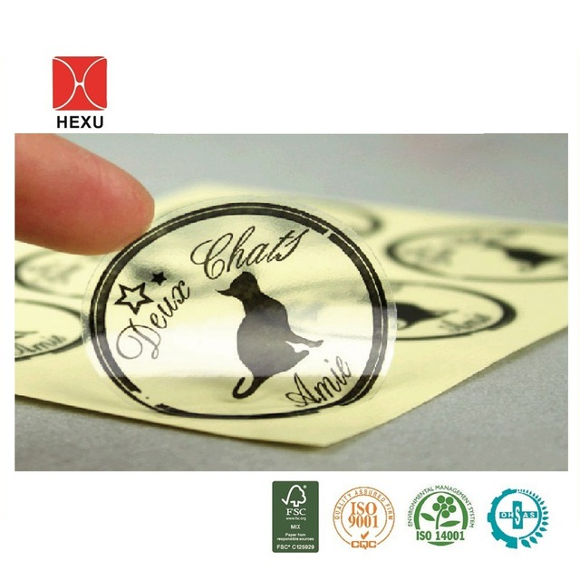 Custom transparent labels printing with different color,custom round clear  vinyl stickers with logo,