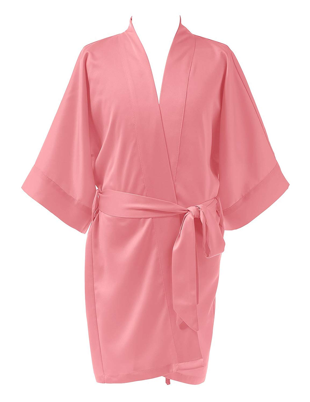 98b7817cd1 Get Quotations · Remedios Girls  Satin Kimono Robe for Party Wedding  Birthday Bathrobe Nightgown