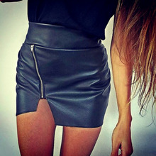 Fashion Sexy Women Bodycon Skirt PU Leather Mini Short Skirt Black shorts plus size women clothing saias femininas