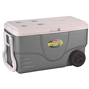 Coleman 50 qt Xtreme Ultra Wheeled Cooler / Holds 70 cans, nearly 3 cases of soda Xtreme 6 technology keeps ice up to 6 days at 90 degrees