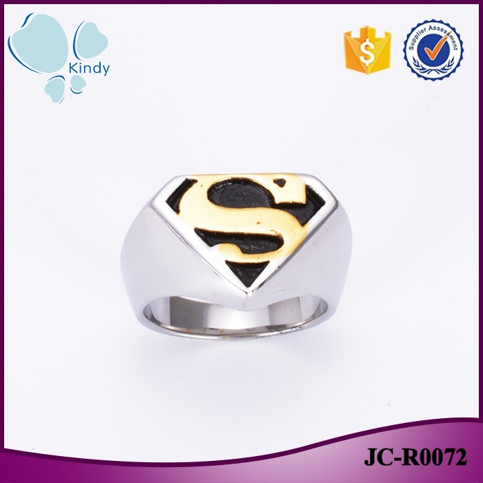 Fashion jewelry factory wholesale mens 316l stainless steel superman ring
