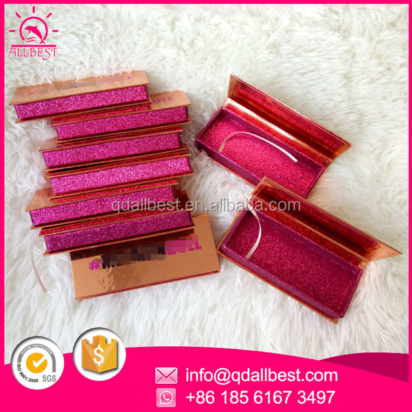 <strong>Custom</strong> Rose Gold Paper Private Label Cosmetic False Eyelash Box Packaging