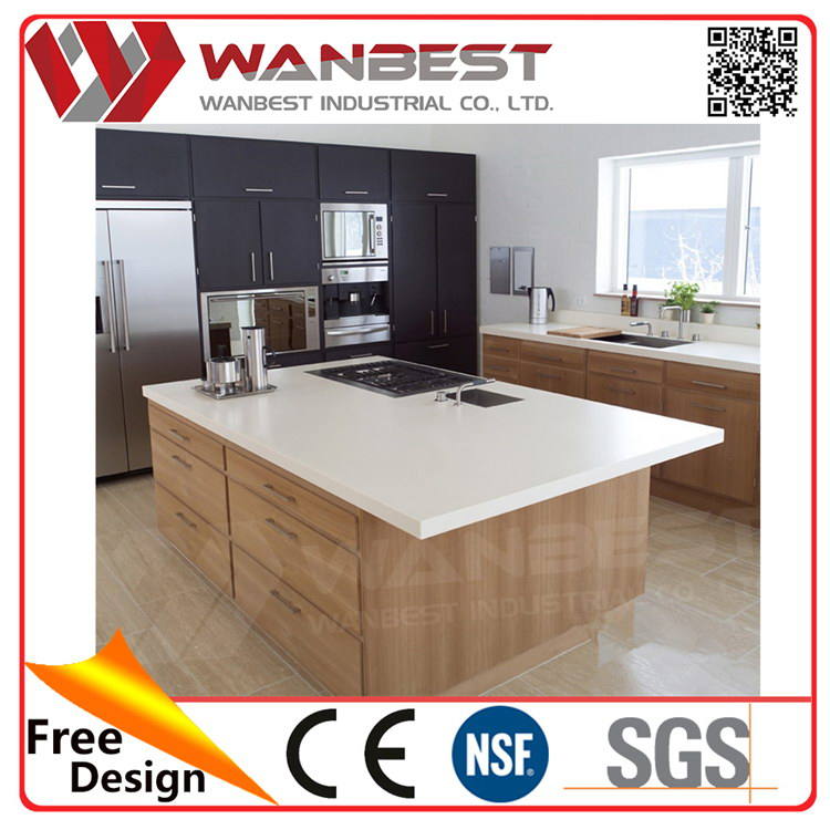 Wanbest polished sparkle artificial stone Prefab Kitchen Islands counter top