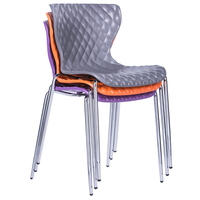 Customized colorful simple stackable coffee shop side armless dining office plastic chair with metal legs