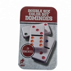Double Six Dominoes Set of 28 Traditional Board Travel Game Toy Tin Box