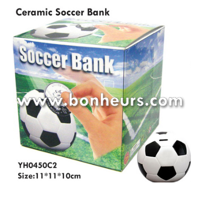 New Novelty Toy Money Box Coin Saving Ceramic Soccer Bank