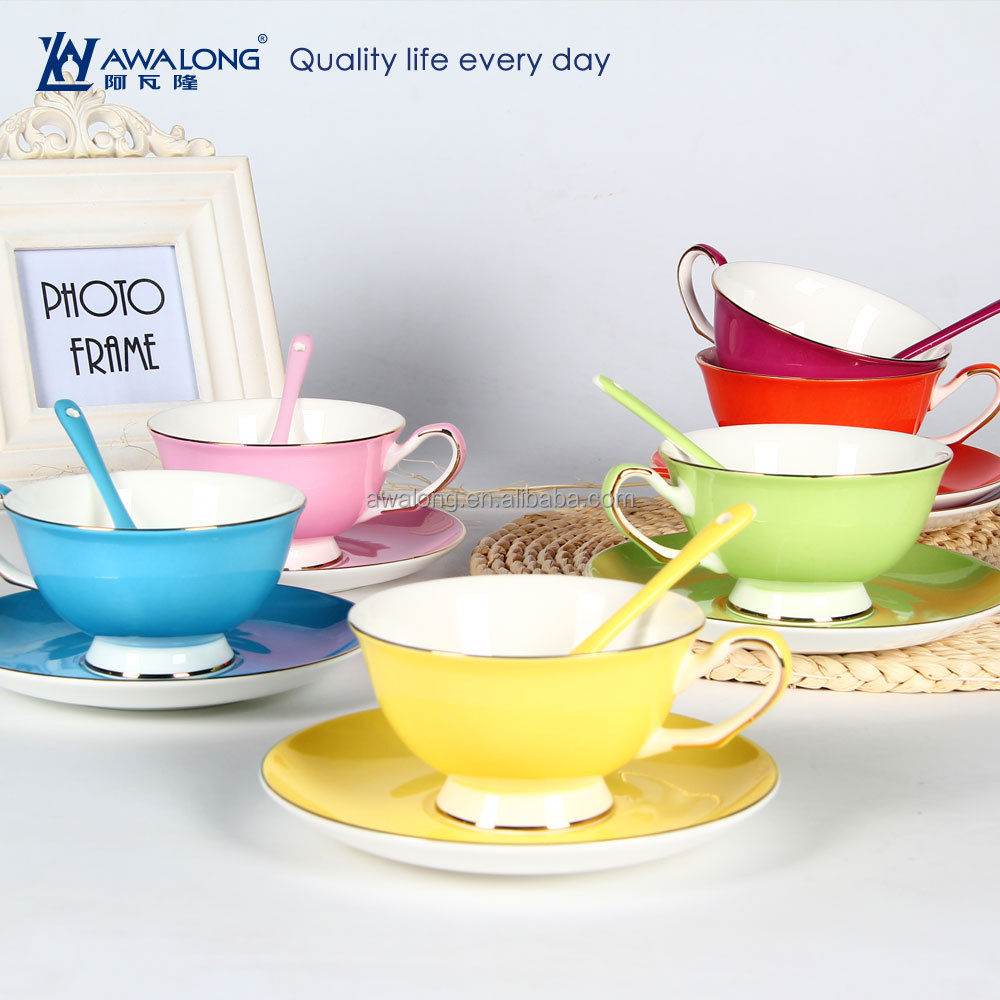 Wholesale Tea Sets Of Colorful Porcelain Tea Cup Saucer With Custom Printed  Pattern / Tea Cups And Saucers Wholesale - Buy Tea Cup Saucer,Porcelain
