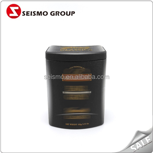Matte Airtight Lid Black Metal Tin Box