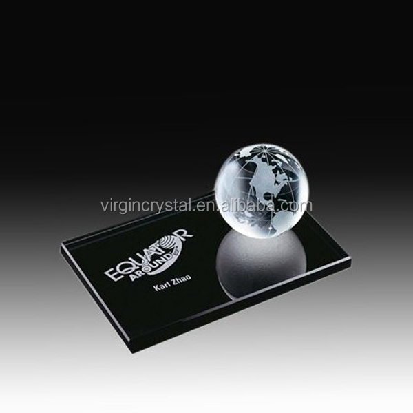 Wholesale high quality optical crystal glass globe world with customized logo black base for office decoration paperweight