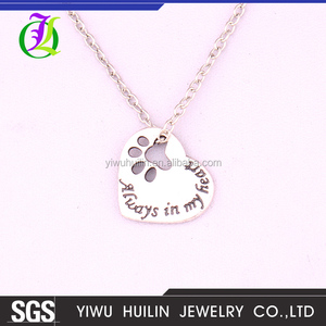 "A700045 Huilin Jewelry wholesale Zinc ""Always in my Heart"" Paw Print Heart Pet Lover Pendant cheap alloy necklace"