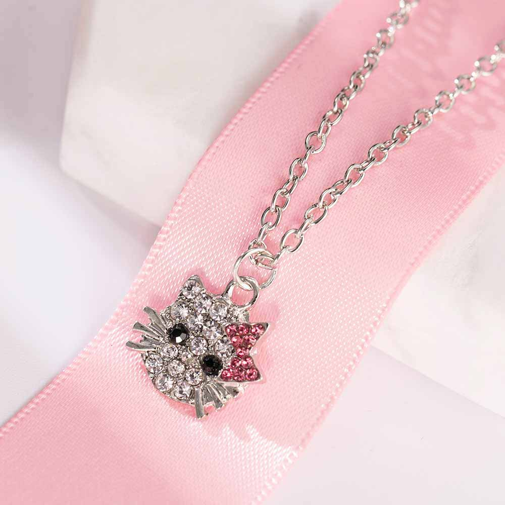 9f6e9dab81e2e FAMSHIN 2017 New Arrival Fashion Crystal Cat Rhinestone Hello Kitty  necklace Bowknot KT Jewelry For Girls Necklace