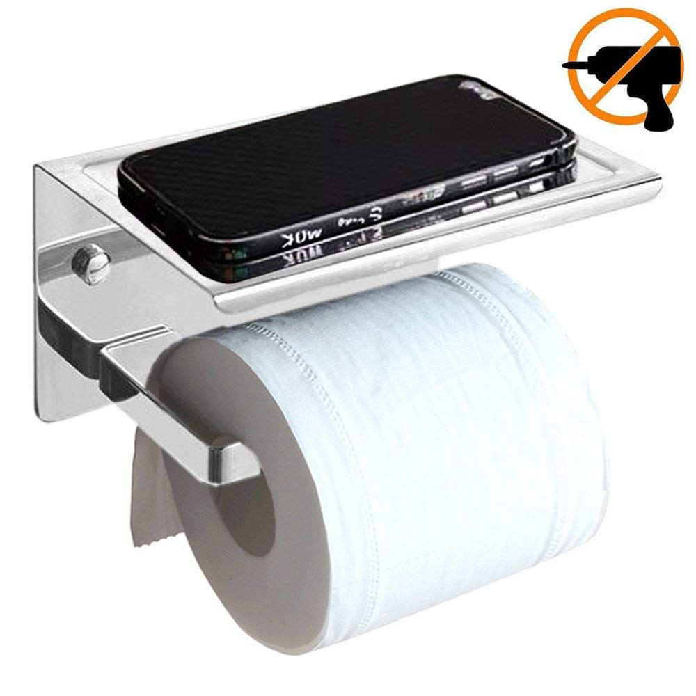 Etubby Stylish Bathroom Toilet Paper Holder Stainless Steel 304 Polished Chrome-Plated Design Wall-Mounted/Self-Adhesive Toilet Roll Storage Tissue Holder with Phone Holder - Silver