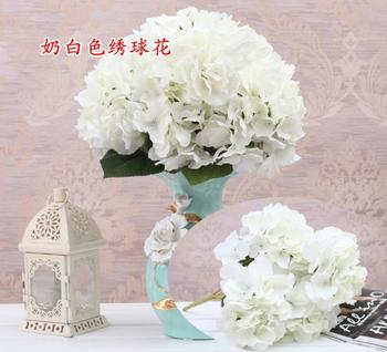 High Quality 5 Heads Artificial Silk White Hydrangea Flower Wedding