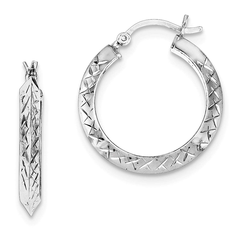 .925 Sterling Silver Rhodium-plated Diamond-cut Round Hoop Earrings 3mm x 25mm