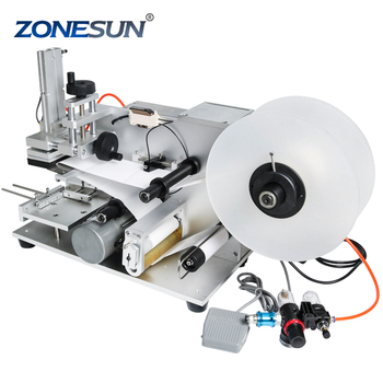 ZONESUN High Speed Semi-automatic Pneumatic LT60T Transparent Square Surface Flat Labeling Machine Glass Bottle Labeling Machine