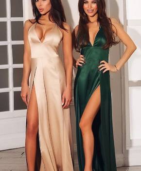 A5026 Wholesale Maxi Sexy Sleeveless Red Split Satin Dress Party Night Club Beige Evening Dresses