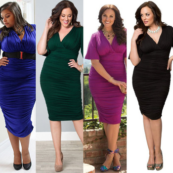 b4b303dd54 Hot Sale Plus Size Summer V Neck Sexy Office Dress Women Clothing Tunic  Ukraine Casual Fashion Big Size Pleated - Buy Office Party Dress,Casual  Women ...