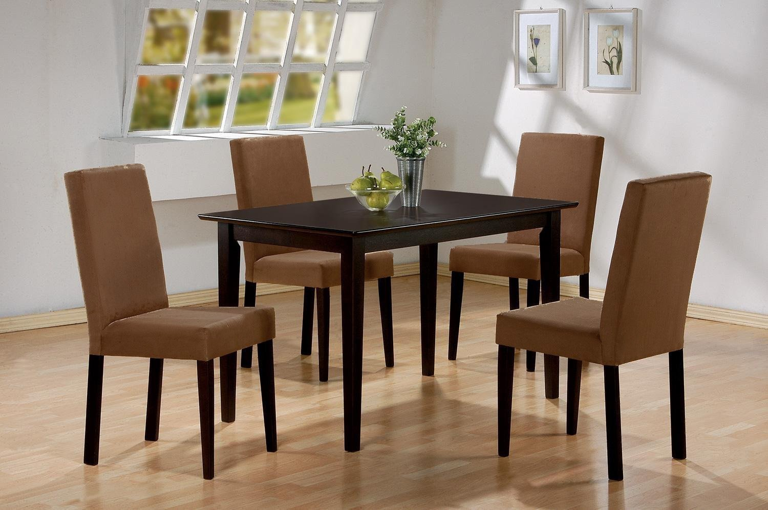 852ae233134 5 PC Espresso Brown 4 Person Table and Chairs Brown Dining Dinette - Espresso  Brown and