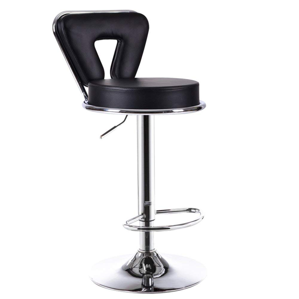WENBO HOME- Stylish minimalist bar chairs, bar chairs, elevating European bars, front desk high chair, backrest bar -chair ( Color : Black )