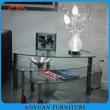 B45 2 Whole Triangle Gl Coffee Table With Wheels Product On Alibaba
