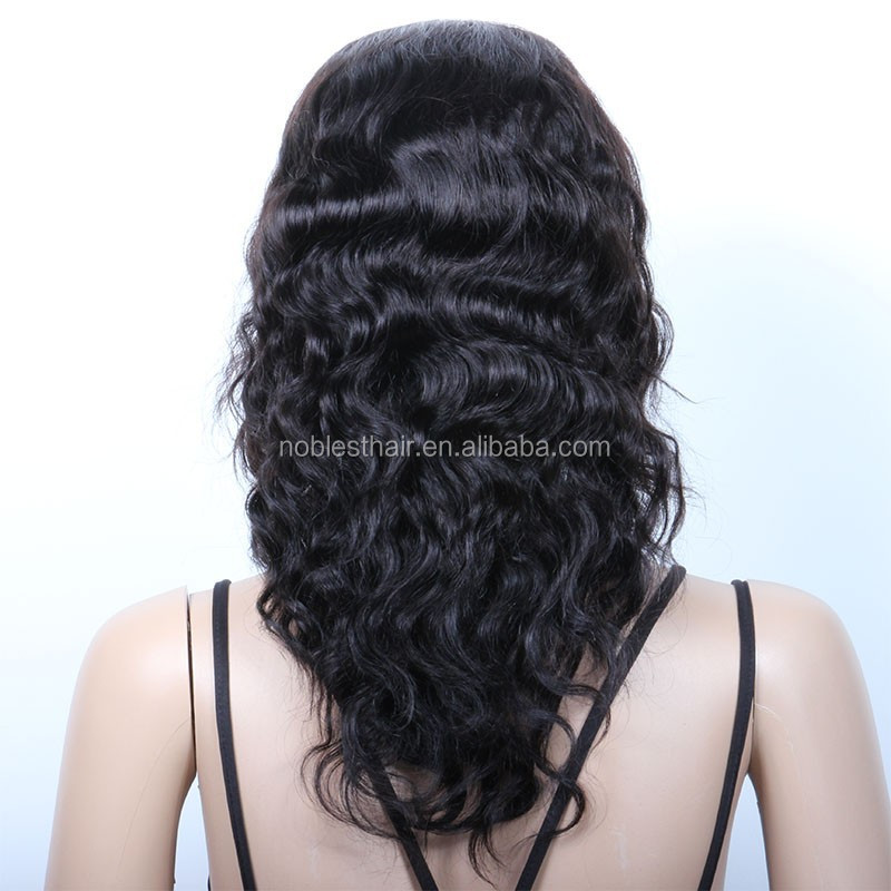 ladies 100% human hair wig with baby hair be customed 12inch remy indian hair machine made wig natural wave natural color