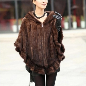 YR732 Ladies Mink Tail Hand Knit Real Fur Shawl with hood